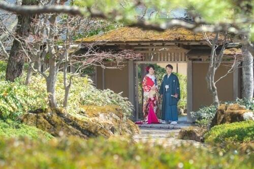 日本庭園で和装フォトウェディング-ブライダルハウス仙台